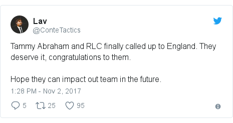 Twitter post by @ConteTactics: Tammy Abraham and RLC finally called up to England. They deserve it, congratulations to them.Hope they can impact out team in the future.