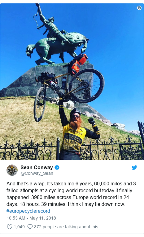 Twitter post by @Conway_Sean: And that's a wrap. It's taken me 6 years, 60,000 miles and 3 failed attempts at a cycling world record but today it finally happened. 3980 miles across Europe world record in 24 days. 18 hours. 39 minutes. I think I may lie down now. #europecyclerecord