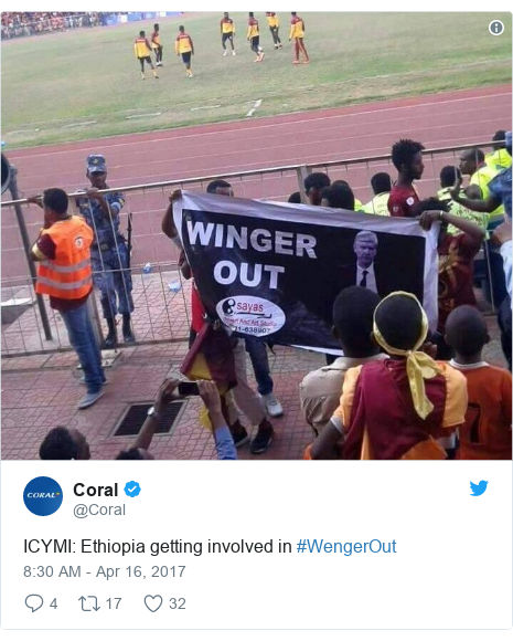 Twitter post by @Coral: ICYMI  Ethiopia getting involved in #WengerOut