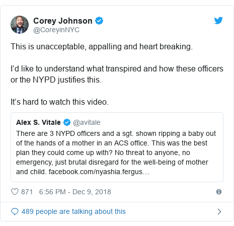 Twitter post by @CoreyinNYC: This is unacceptable, appalling and heart breaking. I'd like to understand what transpired and how these officers or the NYPD justifies this. It's hard to watch this video.