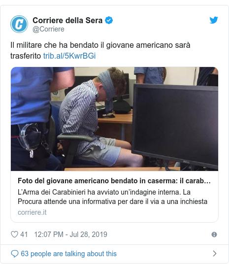 Twitter post by @Corriere: Il militare che ha bendato il giovane americano sarà trasferito