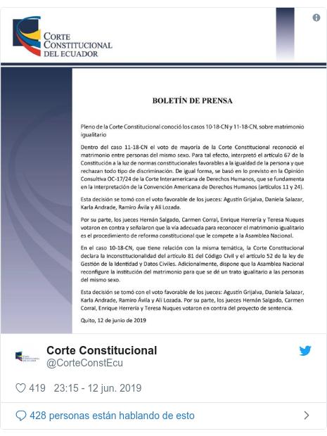 Publicación de Twitter por @CorteConstEcu: