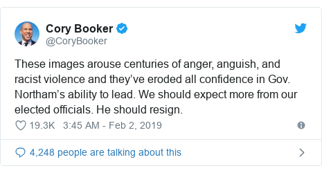 Twitter post by @CoryBooker: These images arouse centuries of anger, anguish, and racist violence and they've eroded all confidence in Gov. Northam's ability to lead. We should expect more from our elected officials. He should resign.