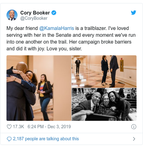 Twitter post by @CoryBooker: My dear friend @KamalaHarris is a trailblazer. I've loved serving with her in the Senate and every moment we've run into one another on the trail. Her campaign broke barriers and did it with joy. Love you, sister.