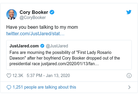 Twitter post by @CoryBooker: Have you been talking to my mom