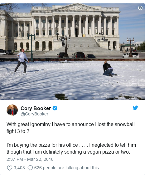 Twitter post by @CoryBooker: With great ignominy I have to announce I lost the snowball fight 3 to 2.  I'm buying the pizza for his office . . . . I neglected to tell him though that I am definitely sending a vegan pizza or two.