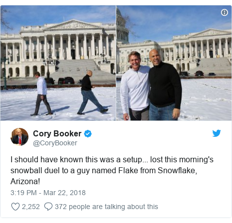 Twitter post by @CoryBooker: I should have known this was a setup... lost this morning's snowball duel to a guy named Flake from Snowflake, Arizona!