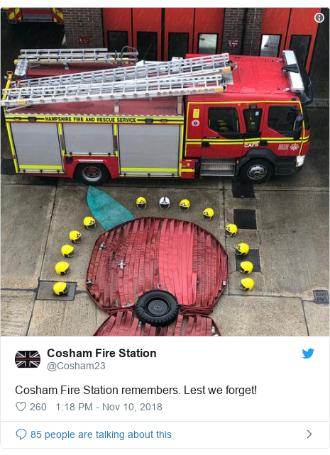 Twitter post by @Cosham23: Cosham Fire Station remembers. Lest we forget!