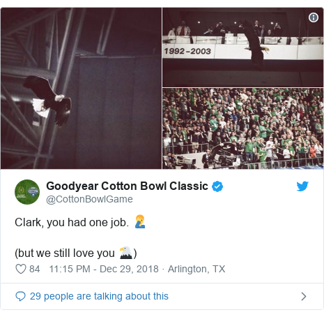 Twitter post by @CottonBowlGame: Clark, you had one job. 🤦♂️(but we still love you 🦅)