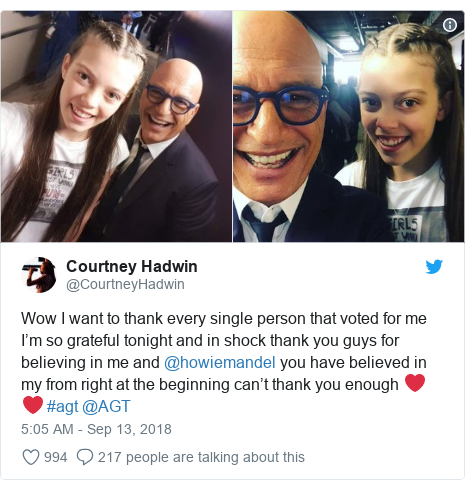 Twitter post by @CourtneyHadwin: Wow I want to thank every single person that voted for me I'm so grateful tonight and in shock thank you guys for believing in me and @howiemandel you have believed in my from right at the beginning can't thank you enough ❤️❤️ #agt @AGT