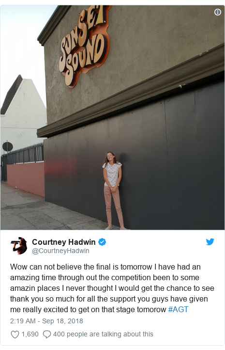Twitter post by @CourtneyHadwin: Wow can not believe the final is tomorrow I have had an amazing time through out the competition been to some amazin places I never thought I would get the chance to see thank you so much for all the support you guys have given me really excited to get on that stage tomorow #AGT