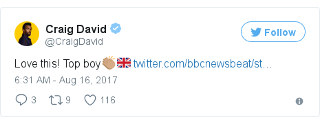 Twitter post by @CraigDavid