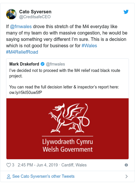 Twitter post by @CreditsafeCEO: If @fmwales drove this stretch of the M4 everyday like many of my team do with massive congestion, he would be saying something very different I'm sure. This is a decision which is not good for business or for #Wales #M4ReliefRoad