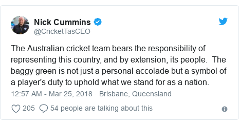 Twitter post by @CricketTasCEO: The Australian cricket team bears the responsibility of representing this country, and by extension, its people.  The baggy green is not just a personal accolade but a symbol of a player's duty to uphold what we stand for as a nation.