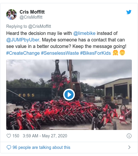 Twitter post by @CrisMoffitt: Heard the decision may lie with @limebike instead of @JUMPbyUber. Maybe someone has a contact that can see value in a better outcome? Keep the message going! #CreateChange #SenselessWaste #BikesForKids 👧👦