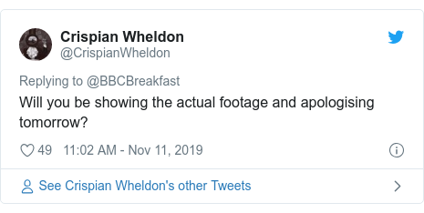 Twitter post by @CrispianWheldon: Will you be showing the actual footage and apologising tomorrow?