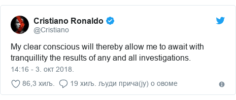 Twitter post by @Cristiano: My clear conscious will thereby allow me to await with tranquillity the results of any and all investigations.