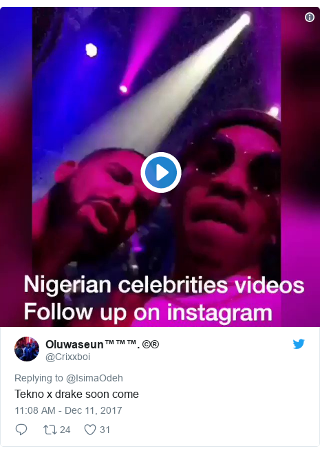 Twitter post by @Crixxboi: Tekno x drake soon come