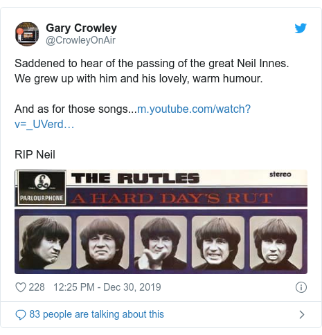 Twitter post by @CrowleyOnAir: Saddened to hear of the passing of the great Neil Innes.We grew up with him and his lovely, warm humour.And as for those songs...RIP Neil