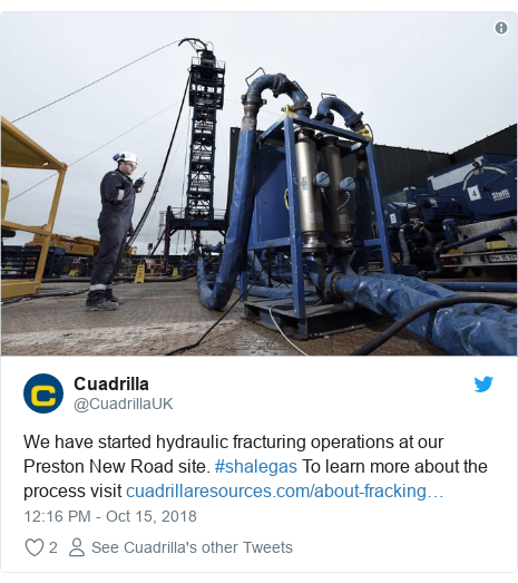 Twitter post by @CuadrillaUK: We have started hydraulic fracturing operations at our Preston New Road site. #shalegas To learn more about the process visit