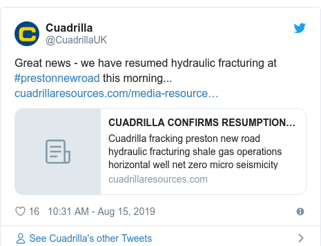 Twitter post by @CuadrillaUK: Great news - we have resumed hydraulic fracturing at #prestonnewroad this morning...