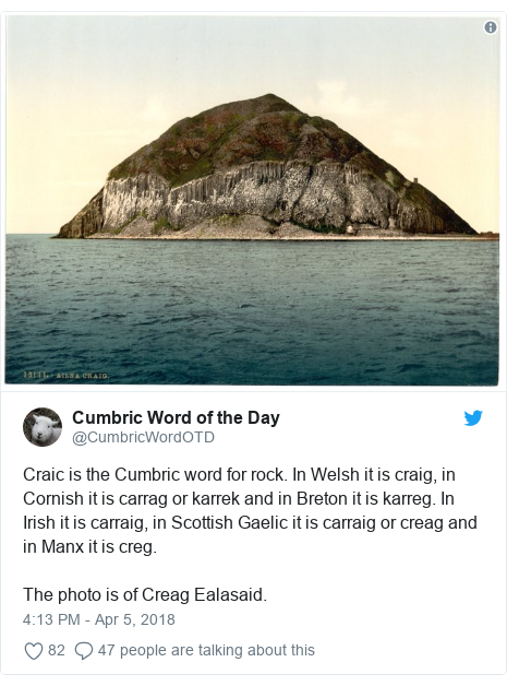 Neges Twitter gan @CumbricWordOTD: Craic is the Cumbric word for rock. In Welsh it is craig, in Cornish it is carrag or karrek and in Breton it is karreg. In Irish it is carraig, in Scottish Gaelic it is carraig or creag and in Manx it is creg.The photo is of Creag Ealasaid.