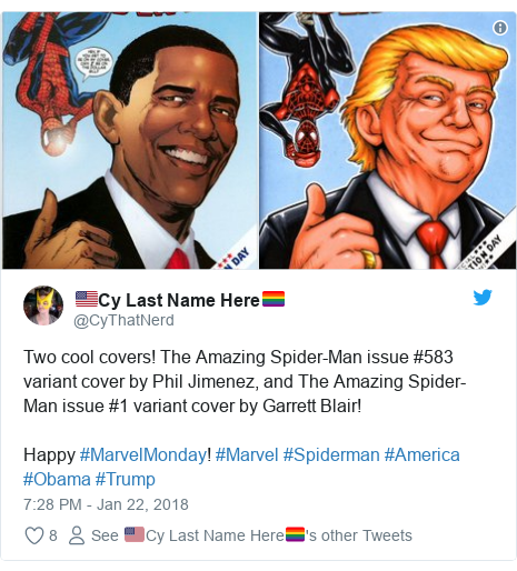 Twitter post by @CyThatNerd: Two cool covers! The Amazing Spider-Man issue #583 variant cover by Phil Jimenez, and The Amazing Spider-Man issue #1 variant cover by Garrett Blair! Happy #MarvelMonday! #Marvel #Spiderman #America #Obama #Trump