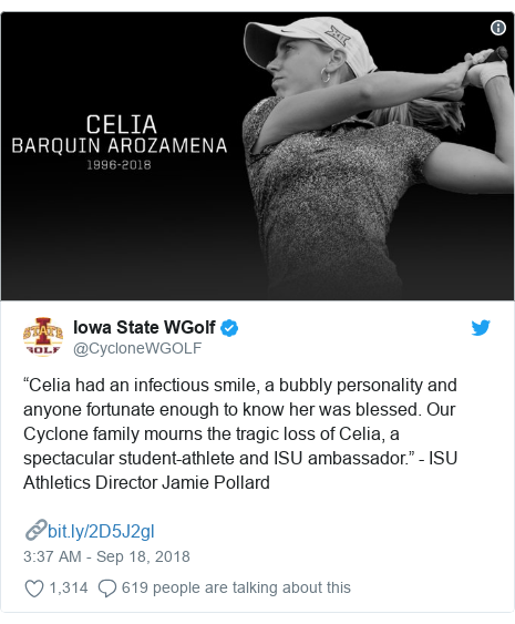 """Twitter post by @CycloneWGOLF: """"Celia had an infectious smile, a bubbly personality and anyone fortunate enough to know her was blessed. Our Cyclone family mourns the tragic loss of Celia, a spectacular student-athlete and ISU ambassador."""" - ISU Athletics Director Jamie Pollard🔗"""