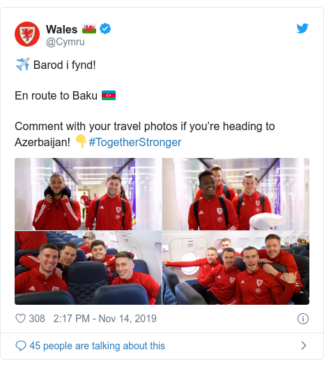 Neges Twitter gan @Cymru: ✈️ Barod i fynd! En route to Baku 🇦🇿 Comment with your travel photos if you're heading to Azerbaijan! 👇#TogetherStronger