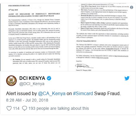 Twitter waxaa daabacay @DCI_Kenya: Alert issued by @CA_Kenya on #Simcard Swap Fraud.