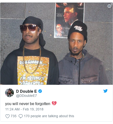 Twitter post by @DDoubleE7: you will never be forgotten 💔