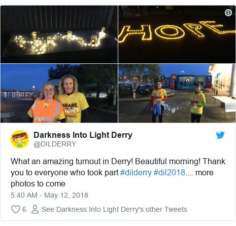 Twitter post by @DILDERRY: What an amazing turnout in Derry! Beautiful morning! Thank you to everyone who took part #dilderry #dil2018.... more photos to come