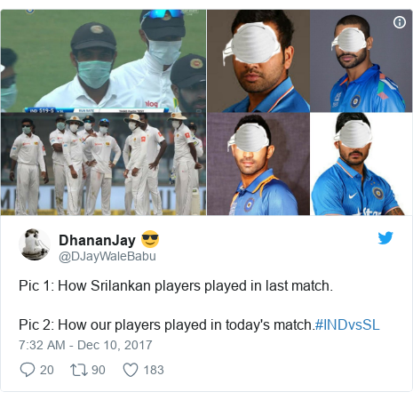 Twitter post by @DJayWaleBabu: Pic 1  How Srilankan players played in last match.Pic 2  How our players played in today's match.#INDvsSL
