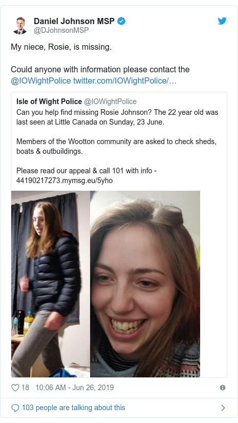 Twitter post by @DJohnsonMSP: My niece, Rosie, is missing.Could anyone with information please contact the @IOWightPolice