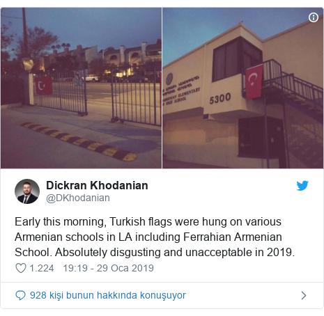 @DKhodanian tarafından yapılan Twitter paylaşımı: Early this morning, Turkish flags were hung on various Armenian schools in LA including Ferrahian Armenian School. Absolutely disgusting and unacceptable in 2019.