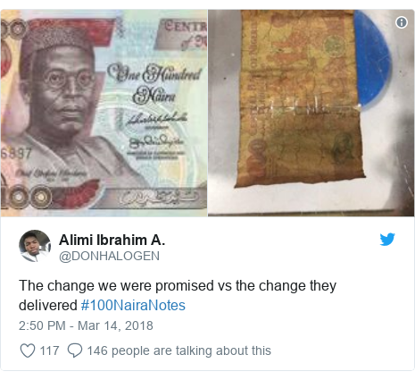 Twitter post by @DONHALOGEN: The change we were promised vs the change they delivered #100NairaNotes