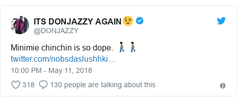 Twitter post by @DONJAZZY: Minimie chinchin is so dope. 🚶🏿♂️🚶🏿♂️