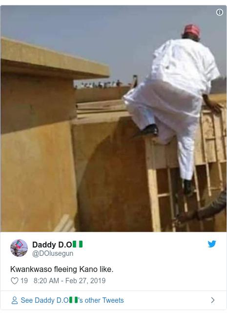 Twitter post by @DOlusegun: Kwankwaso fleeing Kano like.
