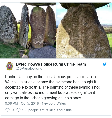 Twitter post by @DPruralpolicing: Pentre Ifan may be the most famous prehistoric site in Wales, it is such a shame that someone has thought it acceptable to do this. The painting of these symbols not only vandalizes the monument but causes significant damage to the lichens growing on the stones.