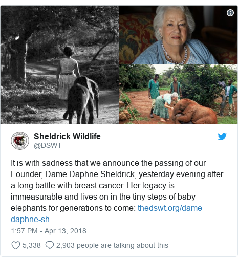 Twitter post by @DSWT: It is with sadness that we announce the passing of our Founder, Dame Daphne Sheldrick, yesterday evening after a long battle with breast cancer. Her legacy is immeasurable and lives on in the tiny steps of baby elephants for generations to come