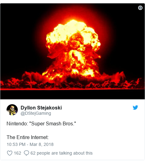 "Twitter post by @DStejGaming: Nintendo  ""Super Smash Bros.""The Entire Internet"