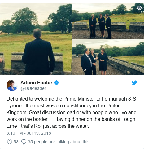 Twitter post by @DUPleader: Delighted to welcome the Prime Minister to Fermanagh & S. Tyrone - the most western constituency in the United Kingdom. Great discussion earlier with people who live and work on the border. . . Having dinner on the banks of Lough Erne - that's RoI just across the water.