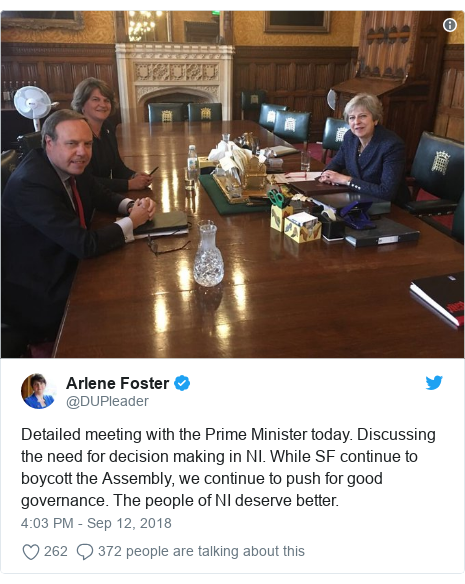Twitter post by @DUPleader: Detailed meeting with the Prime Minister today. Discussing the need for decision making in NI. While SF continue to boycott the Assembly, we continue to push for good governance. The people of NI deserve better.