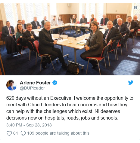 Twitter post by @DUPleader: 620 days without an Executive. I welcome the opportunity to meet with Church leaders to hear concerns and how they can help with the challenges which exist. NI deserves decisions now on hospitals, roads, jobs and schools.