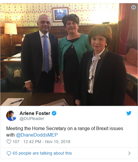 Twitter post by @DUPleader: Meeting the Home Secretary on a range of Brexit issues with @DianeDoddsMEP