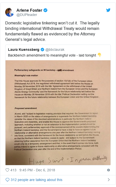 Twitter post by @DUPleader: Domestic legislative tinkering won't cut it.  The legally binding international Withdrawal Treaty would remain fundamentally flawed as evidenced by the Attorney General's legal advice.
