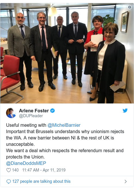 Twitter post by @DUPleader: Useful meeting with @MichelBarnier Important that Brussels understands why unionism rejects the WA. A new barrier between NI & the rest of UK is unacceptable. We want a deal which respects the referendum result and protects the Union. @DianeDoddsMEP