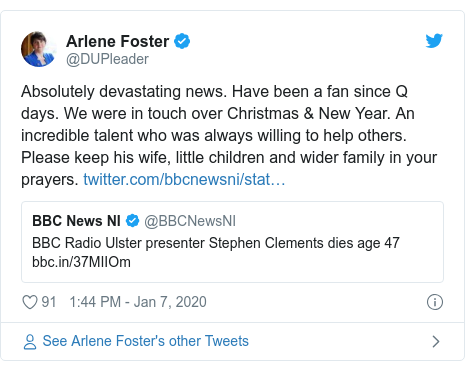 Twitter post by @DUPleader: Absolutely devastating news. Have been a fan since Q days. We were in touch over Christmas & New Year. An incredible talent who was always willing to help others. Please keep his wife, little children and wider family in your prayers.