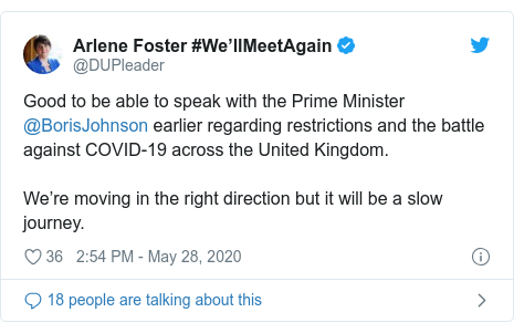 Twitter post by @DUPleader: Good to be able to speak with the Prime Minister @BorisJohnson earlier regarding restrictions and the battle against COVID-19 across the United Kingdom.  We're moving in the right direction but it will be a slow journey.