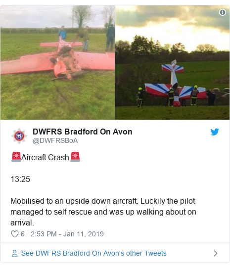Twitter post by @DWFRSBoA: 🚨Aircraft Crash🚨13 25Mobilised to an upside down aircraft. Luckily the pilot managed to self rescue and was up walking about on arrival.